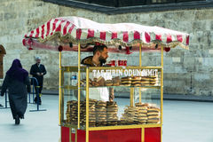 Street sales of traditional Turkish bagels Simit, Royalty Free Stock Photo