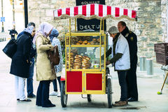 Street sales of traditional Turkish bagels Simit, Royalty Free Stock Images