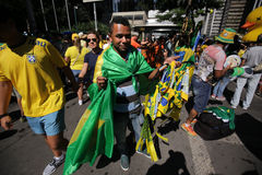 Street salesman Pro Impeachment Brazil Stock Photos