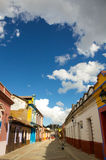 Street at San Christobal De Las Casas with clouds Royalty Free Stock Photography