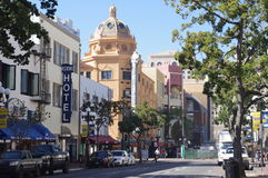 Street in San Diego's Gaslamp Quarter with Balboa Theatre Royalty Free Stock Image