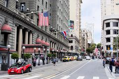 Street of San Francisco next to Union Square. Union Square is one of San Francisco's main shopping and cultural centers with Numerous hotels and national chains Stock Photo