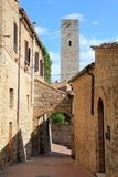 Street of San Gimignano. Picturesque street of San Gimignano in Italy Royalty Free Stock Image