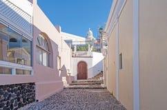 Street on Santorini with art gallery Stock Image