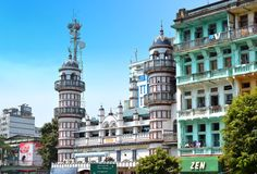 A street scape view with colonial building in the town of Yangon Stock Photography