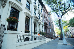 Street scene. Low angle view of houses in street, Brooklyn Heights, New York city, U.S.A Stock Photos