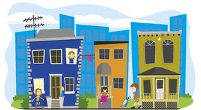 Street Scene. Vector illustration of a neighborhood with a city scape behind Stock Photos