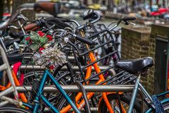Street scene in Amsterdam royalty free stock images