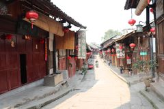 Street scene in ancient villages and towns royalty free stock photos