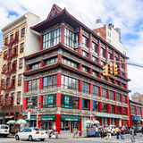 Street scene with asian architecture at Chinatown in New York City Stock Photo
