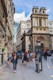 Street scene at Bank Station in London, UK Royalty Free Stock Image