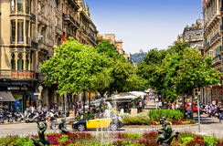 Street Scene in Barcelona, Spain Royalty Free Stock Photos