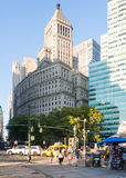 Street scene with beautiful old architecture in New York Stock Photography