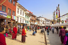 Street Scene, Boudhanath Temple, Nepal Royalty Free Stock Images
