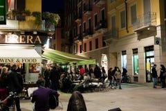 Street scene of Brera, Milan, Italy. Milan,Italy - February 24th: Restaurants and street life at night via Brera in Milan, Italy stock photography