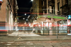 Street scene of Brera, Milan, Italy. Milan,Italy - February 24th: Restaurants and street life at night via Brera in Milan, Italy stock images