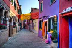 Street scene in Burano Italy Stock Photos
