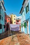 Street scene in Burano near Venice, Italy Stock Images