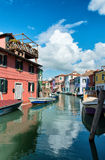 Street scene in Burano, near Venice, Italy Royalty Free Stock Photography