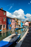 Street scene in Burano, near Venice, Italy Royalty Free Stock Photos