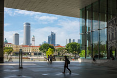 Street scene in business district of Singapore Royalty Free Stock Images