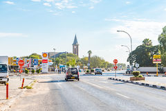Street scene with businesses and Dutch Reformed Church in Otjiwa Stock Photo