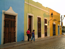 Street scene in Campeche, Mexico. Row of colorful houses in Campeche, Mexico royalty free stock photography
