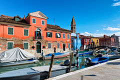 Street scene with a canal in Burano, Italy Stock Photography