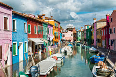 Street scene with a canal in Burano, Italy Royalty Free Stock Images