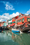 Street scene with a canal in Burano, Italy Royalty Free Stock Photography