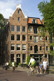 Street scene with canal houses in Amsterdam Stock Photography