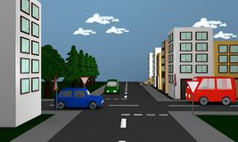 Street scene with cars, houses and the German road sign right ah Royalty Free Stock Images