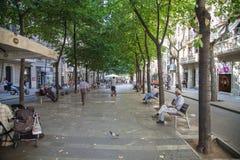 Street scene in central Barcelona. Spain Royalty Free Stock Image