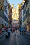 Street scene in central Rome with the famous Spanish Steps on the background Royalty Free Stock Photography