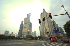 The street scene of the century avenue in shanghai,China. Royalty Free Stock Photo
