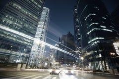 The street scene of the century avenue in shanghai,China. The street scene in shanghai Lujiazui at night,China Stock Photos