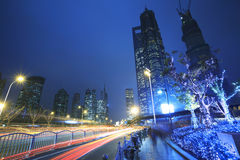The street scene of the century avenue in shanghai,China. The street scene in shanghai Lujiazui at night,China Stock Images