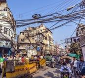 Street scene in Chawri Bazar in Old Delhi Stock Images