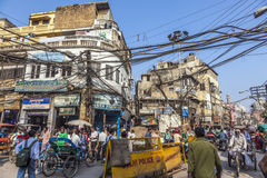Street scene in Chawri Bazar in Old Delhi Royalty Free Stock Photos