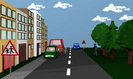 Street scene in the children running between cars in the street. Stock Photo