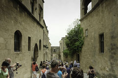 Street scene in citadel of Rhodes, Greece Royalty Free Stock Image