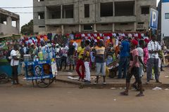 Street scene in the city of Bissau with people at the Bandim Market, in Guinea-Bissau Stock Image