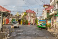 Street scene from the city of Roseau on Dominica island royalty free stock image