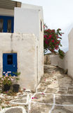 Street scene classic Greek Island architecture with painted walk. And flowers Lefkes village Paros Island Cyclades Greece Royalty Free Stock Image