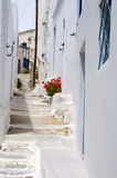 Street scene classic Greek Island architecture with painted walk. And flowers Lefkes village Paros Island Cyclades Greece Stock Images