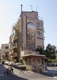 Street scene with Decorated House in Jerusalem Near the market Mahane Yehuda.T. JERUSALEM,ISRAEL- July 31,2015:  Street scene with Decorated House in Jerusalem Stock Photography