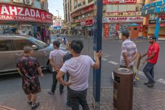 Street scene in Deira district, Dubai royalty free stock photography