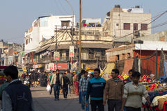 Street Scene in Delhi, India. India street scene, Delhi - Outside the Great Mosque (Jama Masjid royalty free stock images