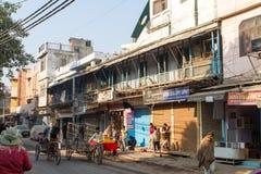 Street Scene in Delhi, India. India street scene, Delhi - Outside the Great Mosque (Jama Masjid stock photos