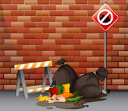 Street scene with dirty trash on the floor. Illustration Stock Images